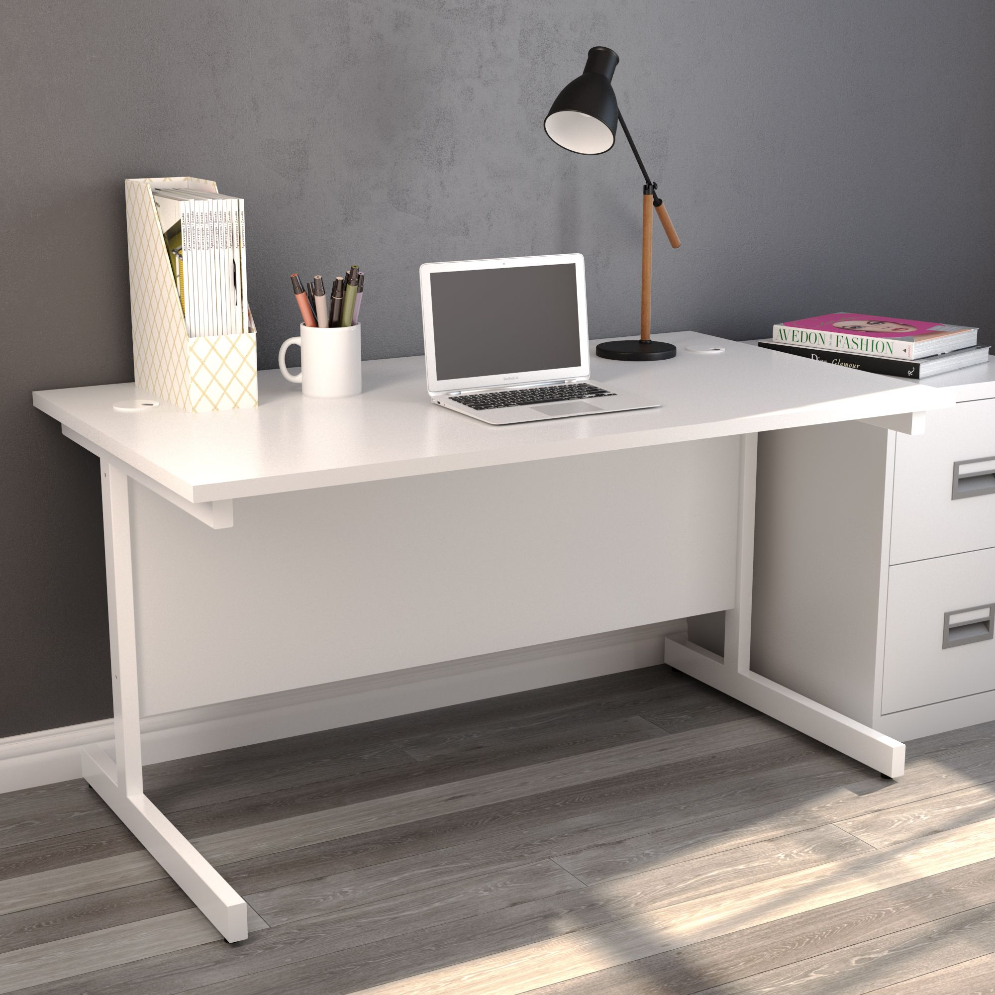 home office desk in white